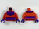 Part No: 973pb2716c01  Name: Torso Dark Purple Belt and Collar with Rivets Pattern (Magneto) / Red Arms / Dark Purple Hands