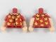 Part No: 973pb2942c01  Name: Torso Shirt with Light Flesh Neck, 4 Buttons, Bright Light Orange Birds Pattern / Light Flesh Arms with Red Short Sleeves Pattern / Light Flesh Hands