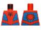 Part No: 973pb3367  Name: Torso, Black Spider, Dark Red Webbing, Blue Vest and Belt Pattern
