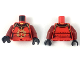 Part No: 973pb3411c01  Name: Torso Samurai Armor in 3 Sections, Gold Clasps and Trim and Firebird Logo Pattern / Dark Red Arms / Black Hands