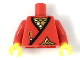 Part No: 973pb3420c01  Name: Torso Castle Ninja Wrap, Brown Dagger, Gold Star, Gold Scale Mail with White Highlights Pattern / Red Arms / Yellow Hands