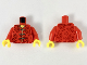 Part No: 973pb3457c01  Name: Torso Tang Jacket with Gold Hem and Ties, Dark Brown Flowers Pattern / Red Arms / Yellow Hands