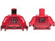 Part No: 973pb3499c01  Name: Torso SW Pilot with Dark Red Vest and Front Panel Pattern / Red Arms / Dark Red Hands