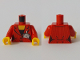 Part No: 973pb3568c01  Name: Torso Suit Jacket with Two Buttons, Necklace and Badge Pattern / Red Arms / Yellow Hands