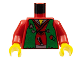 Part No: 973px14c01  Name: Torso Castle Ninja Vest Green Tattered Pattern (Robber) / Red Arms / Yellow Hands
