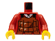 Part No: 973px15c01  Name: Torso Castle Ninja Armor Brown Leather Pattern (Robber) / Red Arms / Yellow Hands