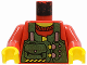 Part No: 973px25c01  Name: Torso Rock Raiders Green Vest with Pouches Pattern (Bandit) / Red Arms / Yellow Hands