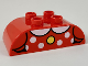 Part No: 98223pb018  Name: Duplo, Brick 2 x 4 Curved Top with White Collar and Polka Dots, Yellow Button Pattern