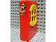 Part No: x635c02pb04  Name: Fabuland Building Wall 2 x 6 x 7 with Round Symmetric Yellow Window with Fire Alarm Pattern (Sticker) - Set 3682