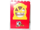 Part No: x636c02pb06  Name: Fabuland Building Wall 2 x 6 x 7 with Round Top Yellow Window and Tire, Cramp and Screw Pattern (Sticker) - Set 3670