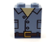 Part No: 3245cpb074  Name: Brick 1 x 2 x 2 with Inside Stud Holder with Black Outlined Open Shirt with Pockets and Reddish Brown Belt Pattern (BrickHeadz Owen Torso)