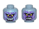 Part No: 3626cpb1834  Name: Minifigure, Head Dual Sided Alien with Yellow Eyes, Dark Purple Rock Teeth, Smile / Angry Pattern - Hollow Stud