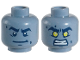 Part No: 3626cpb1915  Name: Minifig, Head Dual Sided Alien Dark Blue Thick Eyebrows, Crooked Smile, White Pupils / Yellow Eyes, Bared Teeth Angry Pattern - Stud Recessed