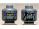 Part No: 3626cpb1962  Name: Minifigure, Head Dual Sided Alien with Yellow Eyes, Jagged Rock Mouth, Open Mouth / Closed Mouth Pattern - Hollow Stud
