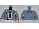 Part No: 973pb1415c01  Name: Torso Open Suit Jacket with White Shirt, Dark Red Tie and Reddish Brown Belt Pattern / Sand Blue Arms / Light Flesh Hands