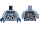 Part No: 973pb1629c01  Name: Torso Chima Dark Bluish Gray Armor, Silver Buckles, Bat Pendant and Dark Azure Round Jewel (Chi) Pattern / Sand Blue Arms / Dark Blue Hands