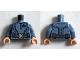 Part No: 973pb1957c01  Name: Torso Suit with Black Hydra Logo and Dark Bluish Gray Belt with Silver Buckle Pattern (Baron Von Strucker) / Sand Blue Arms / Light Flesh Hands