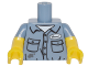 Part No: 973pb2215c01  Name: Torso Shirt with Dirt Stains, Pockets, Buttons and Name Tag Pattern / Yellow Arms with Sand Blue Short Sleeves Pattern / Yellow Hands