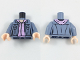 Part No: 973pb2725c01  Name: Torso Female Jacket Open over Lavender Sweater Pattern / Sand Blue Arms / Light Flesh Hands
