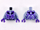 Part No: 973pb2832c01  Name: Torso Female Outline with Black and Dark Purple Rocks and White and Blue Lightning Effect Pattern / Sand Blue Arms / Dark Purple Hands