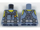 Part No: 973pb2847  Name: Torso Scuba Suit with Utility Belt with 2 Pouches, Yellow Neck and Shoulders Pattern
