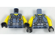 Part No: 973pb2847c01  Name: Torso Scuba Suit with Utility Belt with 2 Pouches, Yellow Neck and Shoulders Pattern / Yellow Arms / Black Hands