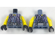 Part No: 973pb2859c01  Name: Torso Scuba Vest with Utility Belt with Pouches and Lavender Tentacles Pattern / Yellow Arms / Black Hands
