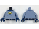 Part No: 973pb2901c01  Name: Torso Batman Logo in Yellow Oval, Dark Blue Collar and Belly Contour Lines Pattern / Sand Blue Arms / Dark Blue Hands