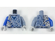 Part No: 973pb2908c01  Name: Torso Nexo Knights Armor Semi-Stone with Dark Blue Falcon in Shield Pattern / Sand Blue Left Arm / Blue Right Arm / Light Bluish Gray Hands