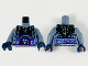 Part No: 973pb2909c01  Name: Torso Nexo Knights Bare Chest with Black Cracks, Dark Bluish Gray Scales, Dark Purple and Light Blue Belt Pattern / Sand Blue Arms / Dark Blue Hands