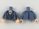 Part No: 973pb3254c01  Name: Torso Trenchcoat with Light Flesh Neck, White Shirt with Gold Necklace, Dark Bluish Gray Jacket Pattern / Sand Blue Arms / Light Flesh Hands
