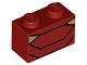Part No: 3004pb173  Name: Brick 1 x 2 with Black Angled Lines and 2 Dark Tan Triangles Pattern (BrickHeadz Iron Man MK50 Abdomen)