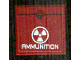 Part No: 3068bpb0875  Name: Tile 2 x 2 with Groove with White Radioactivity Warning and 'AMMUNITION' Pattern (Sticker) - Set 8102