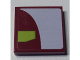 Part No: 3068bpb0900L  Name: Tile 2 x 2 with White and Lime Panels on Dark Red Background Pattern Model Left Side (Sticker) - Set 7751