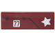Part No: 63864pb052  Name: Tile 1 x 3 with White Star and '77', Black Line and 2 Screws Pattern (Sticker) - Set 76077