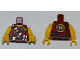 Part No: 973pb0992c01  Name: Torso Dino Tranquilizer Bandolier, Belt and 'D' Pattern / Yellow Arms / Yellow Hands