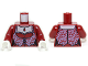 Part No: 973pb1210c01  Name: Torso Monster Fighters Female Corset with Lavender Trim and Dark Red Pendant Pattern / Dark Red Arms / White Hands