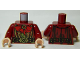 Part No: 973pb1554c01  Name: Torso LotR Robe with Large Red Bow, Gold Trim, and Ornate Gold Belt Buckle Pattern / Dark Red Arms / Light Flesh Hands