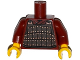 Part No: 973pb1779c01  Name: Torso Armor Plate Dark Brown with Copper Rivets Pattern / Dark Red Arms / Yellow Hands