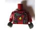 Part No: 973pb1818c01  Name: Torso Jacket with Dark Bluish Gray Collar, Silver Side Clasps and Gold Badge Pattern (Rocket) / Dark Red Arms Printed / Dark Bluish Gray Hands