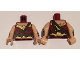 Part No: 973pb2333c01  Name: Torso Female Outline and Gold Trim and Crossbelt Pattern (Wonder Woman) / Light Flesh Arms with Silver Gauntlet Pattern / Light Flesh Hands