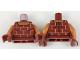 Part No: 973pb3109c01  Name: Torso Female Shirt with Bricks Pattern / Dark Orange Arms / Dark Red Hands