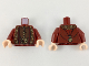 Part No: 973pb3195c01  Name: Torso Ornate Robe with Long Scarves, Gold, Reddish Brown and Dark Brown Details Pattern / Dark Red Arms / Light Flesh Hands