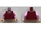Part No: 973pb3221c01  Name: Torso Female Vest with Bright Pink and Dark Red Collar Pattern / Bright Pink Arms / Light Flesh Hands