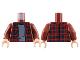 Part No: 973pb3227c01  Name: Torso Plaid Flannel Shirt with Dark Blue Stripes over Light Bluish Gray Sweater Pattern / Dark Red Arms / Light Flesh Hands