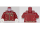 Part No: 973pb3281c01  Name: Torso Suit Vest with Gold and Black Trim and Buttons and Name Tag Pattern / Dark Red Arms / White Hands