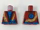 Part No: 973pb3404  Name: Torso Female Robe, Dark Azure Shirt and Sash, Black Hems, Gold Dragon Pattern