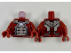 Part No: 973pb3485c01  Name: Torso Armor with Silver Panels and Shiny Blue Circle in Center Pattern / Dark Red Arms / Dark Red Hands
