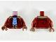 Part No: 973pb3560c01  Name: Torso Jacket with Dark Tan Collar, Bright Light Blue Shirt and Dark Tan Utility Belt Pattern / Dark Red Arms / Reddish Brown Hands