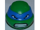 Part No: 12607pb04  Name: Minifig, Head Modified Ninja Turtle with Blue Mask and Teeth Pattern (Leonardo)